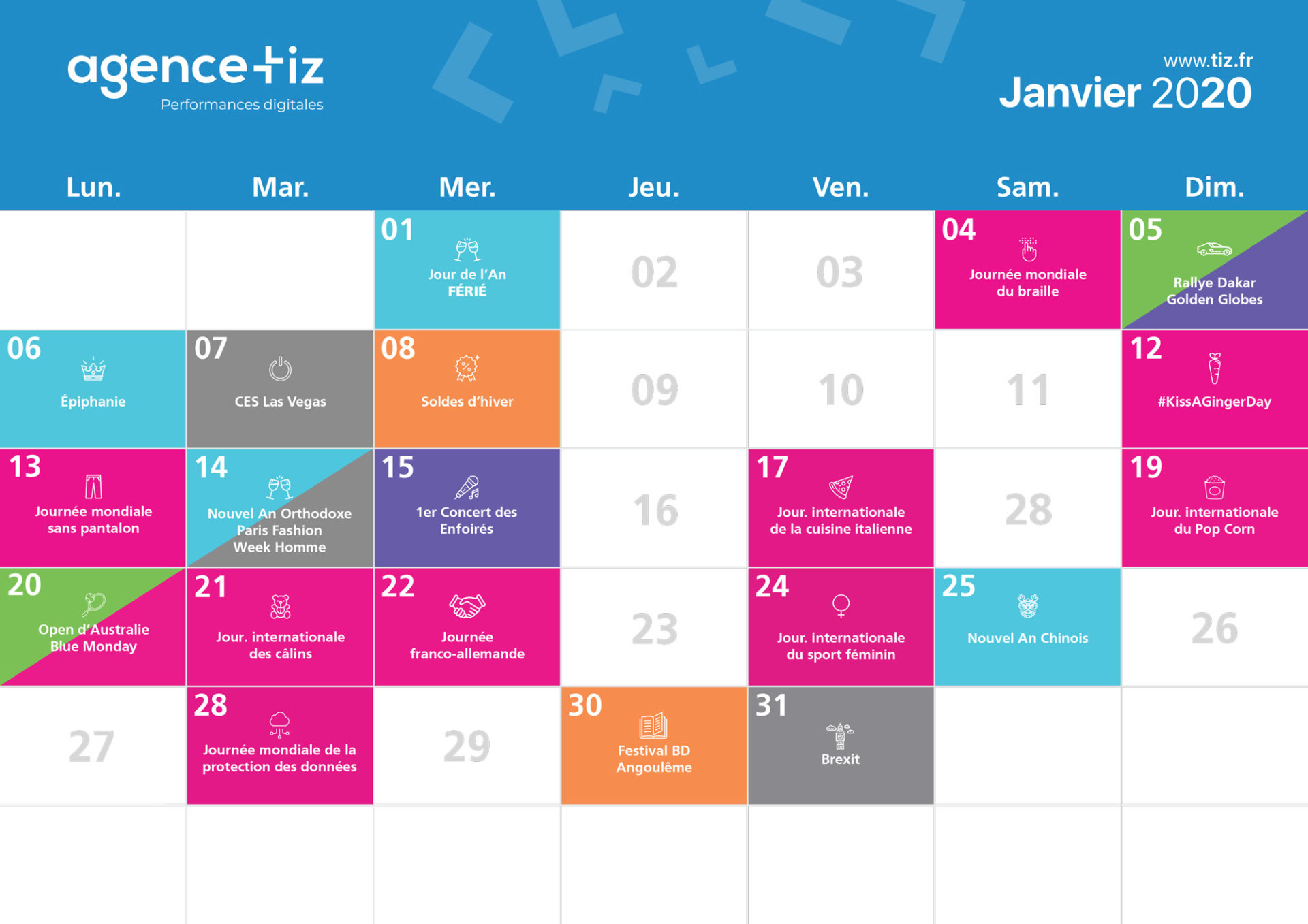 calendrier marketing 2020 janvier