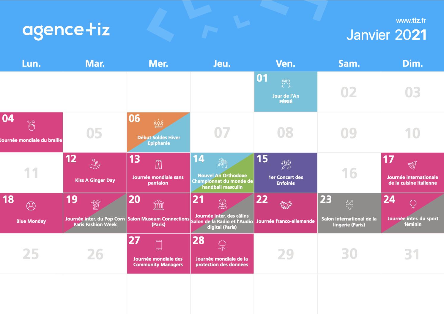 Calendrier marketing 2021 : la liste des événements de l'année   Tiz
