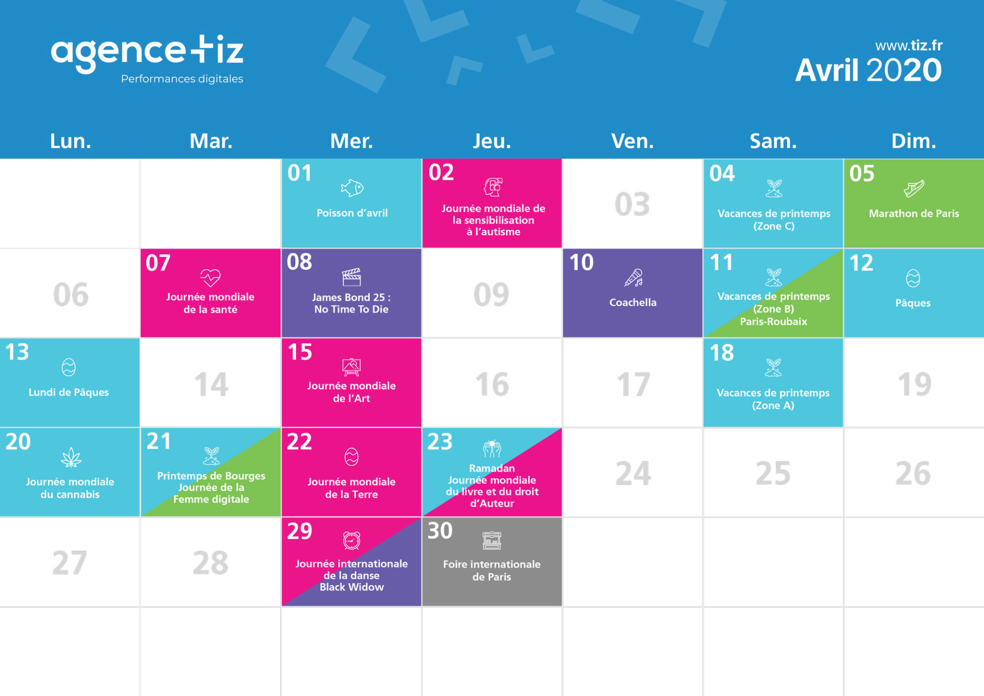 calendrier marketing 2020 avril