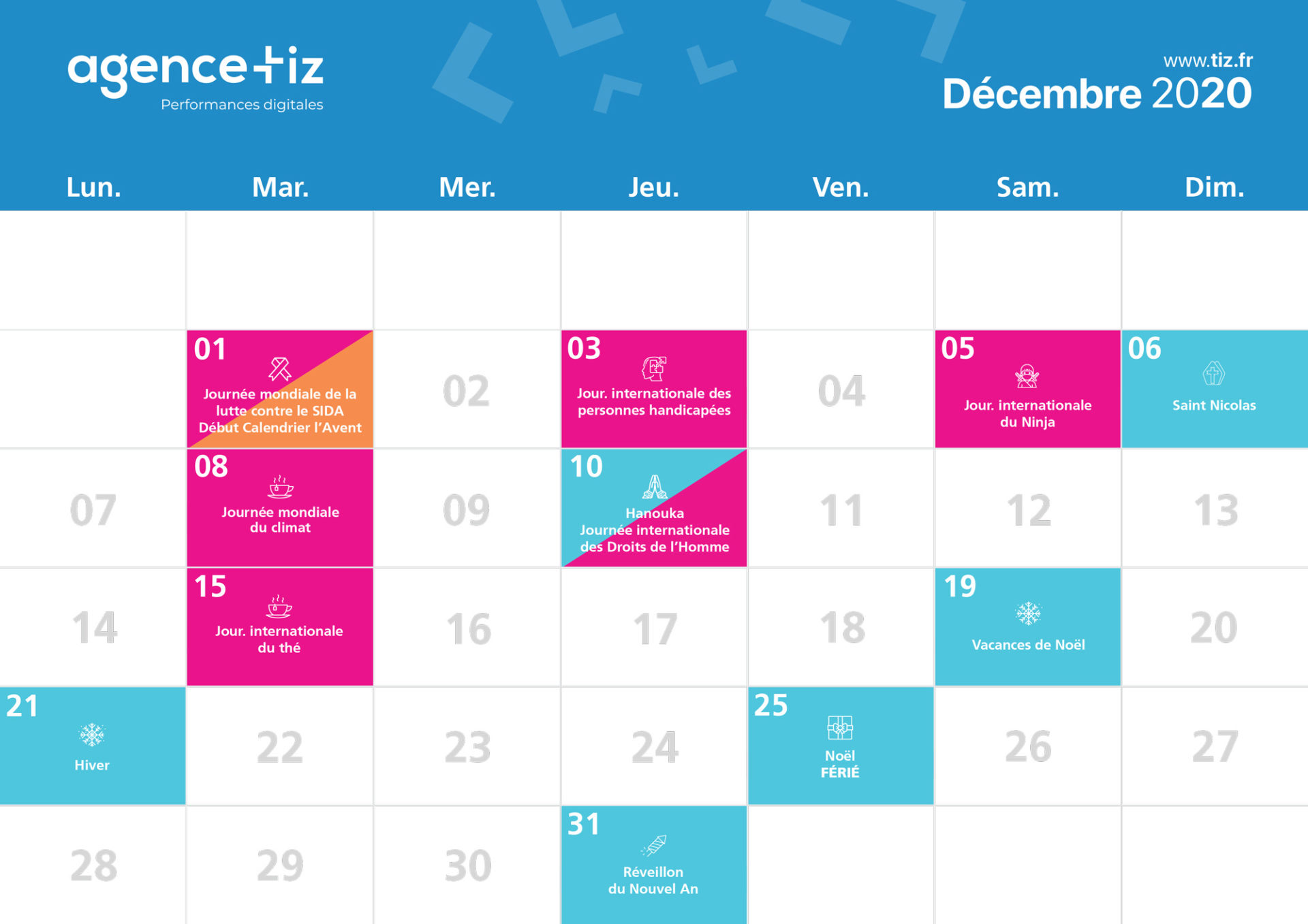 calendrier marketing 2020 décembre