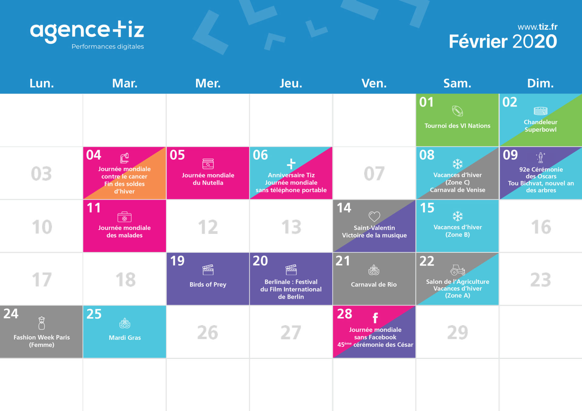 calendrier marketing 2020 février