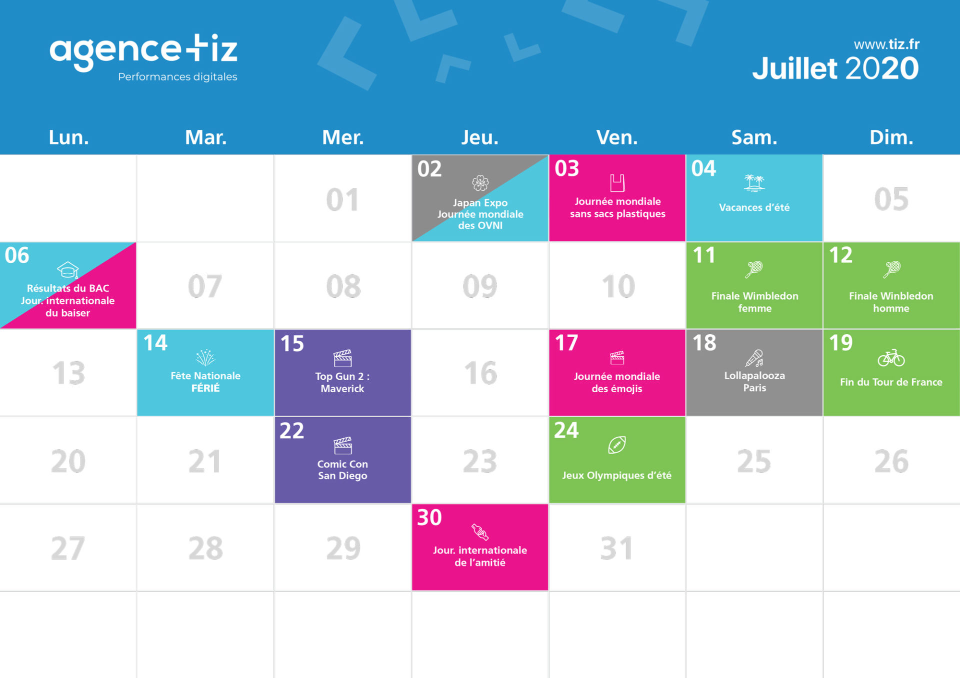 calendrier marketing 2020 juillet
