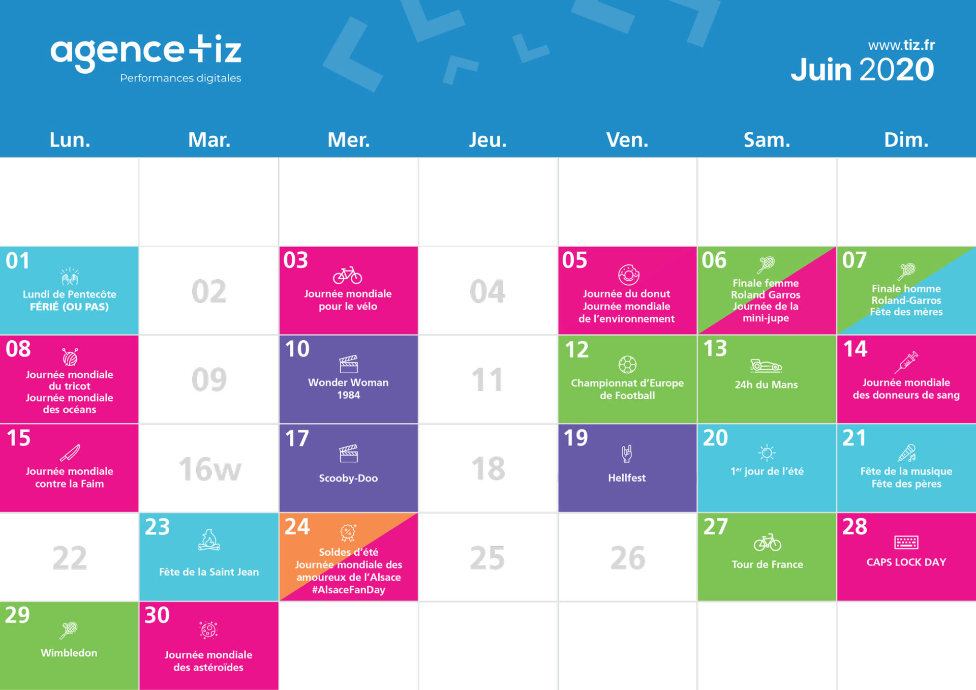 calendrier marketing 2020 juin