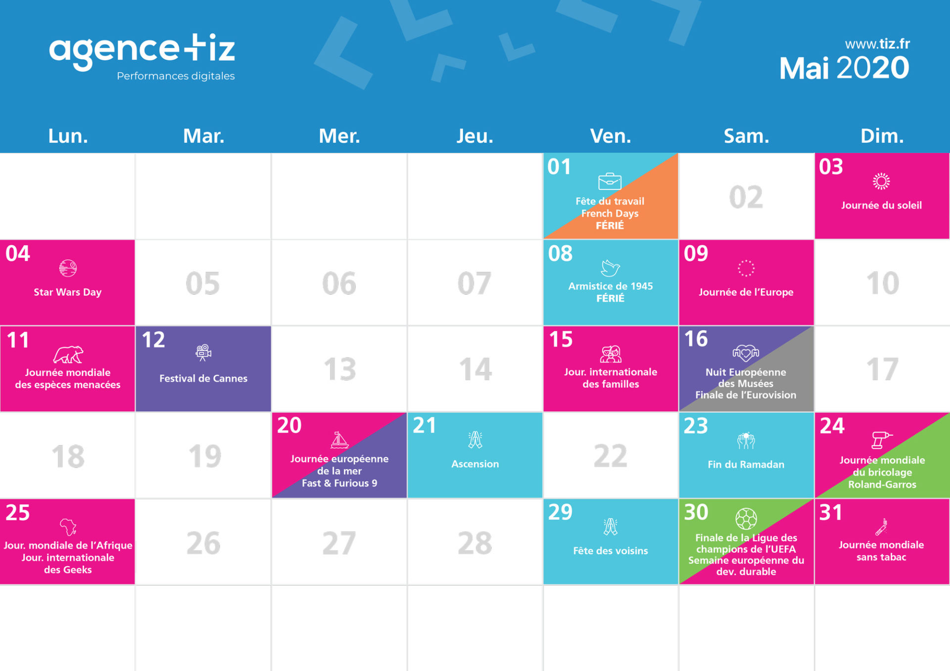 calendrier marketing 2020 mai