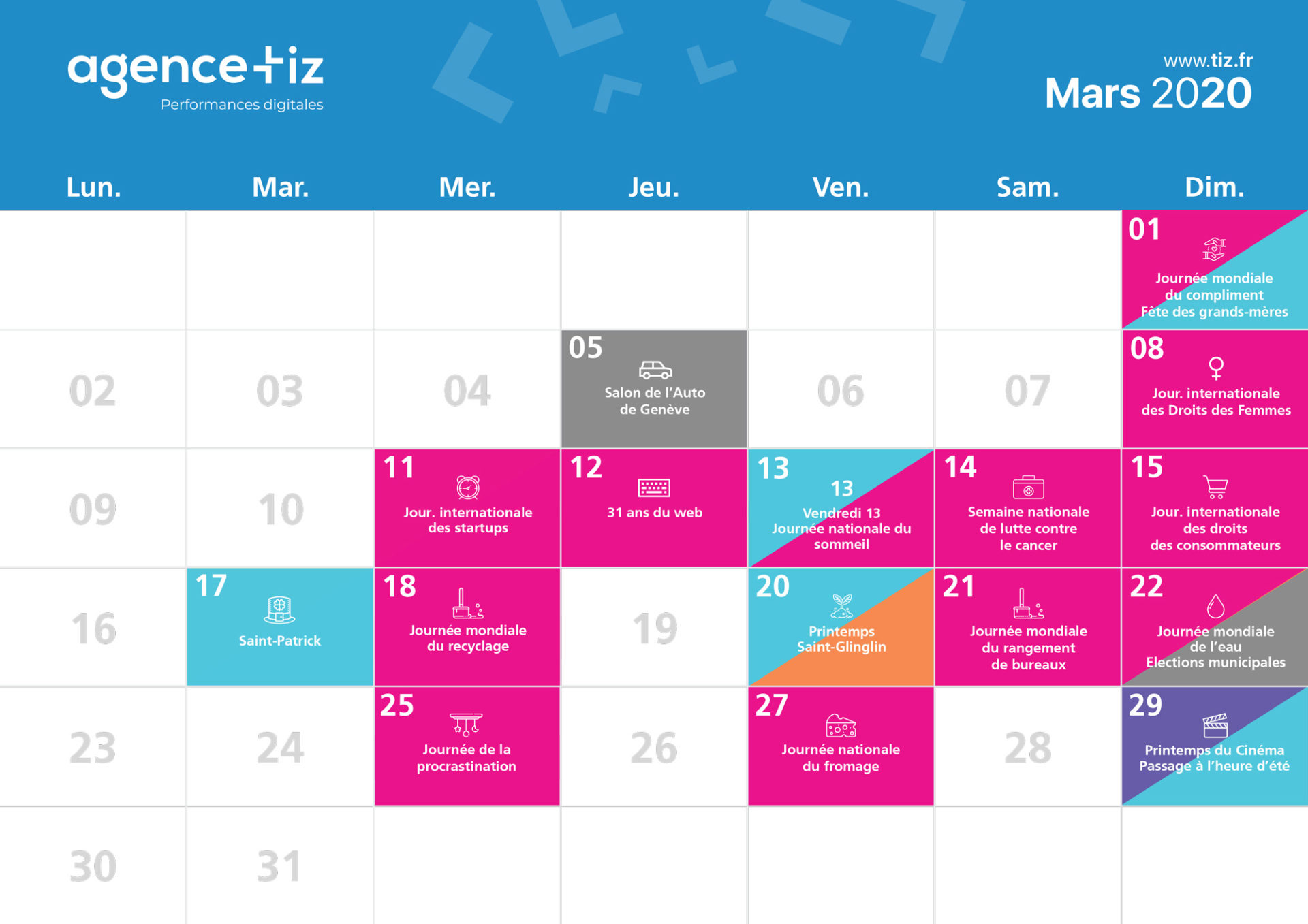 calendrier marketing 2020 mars