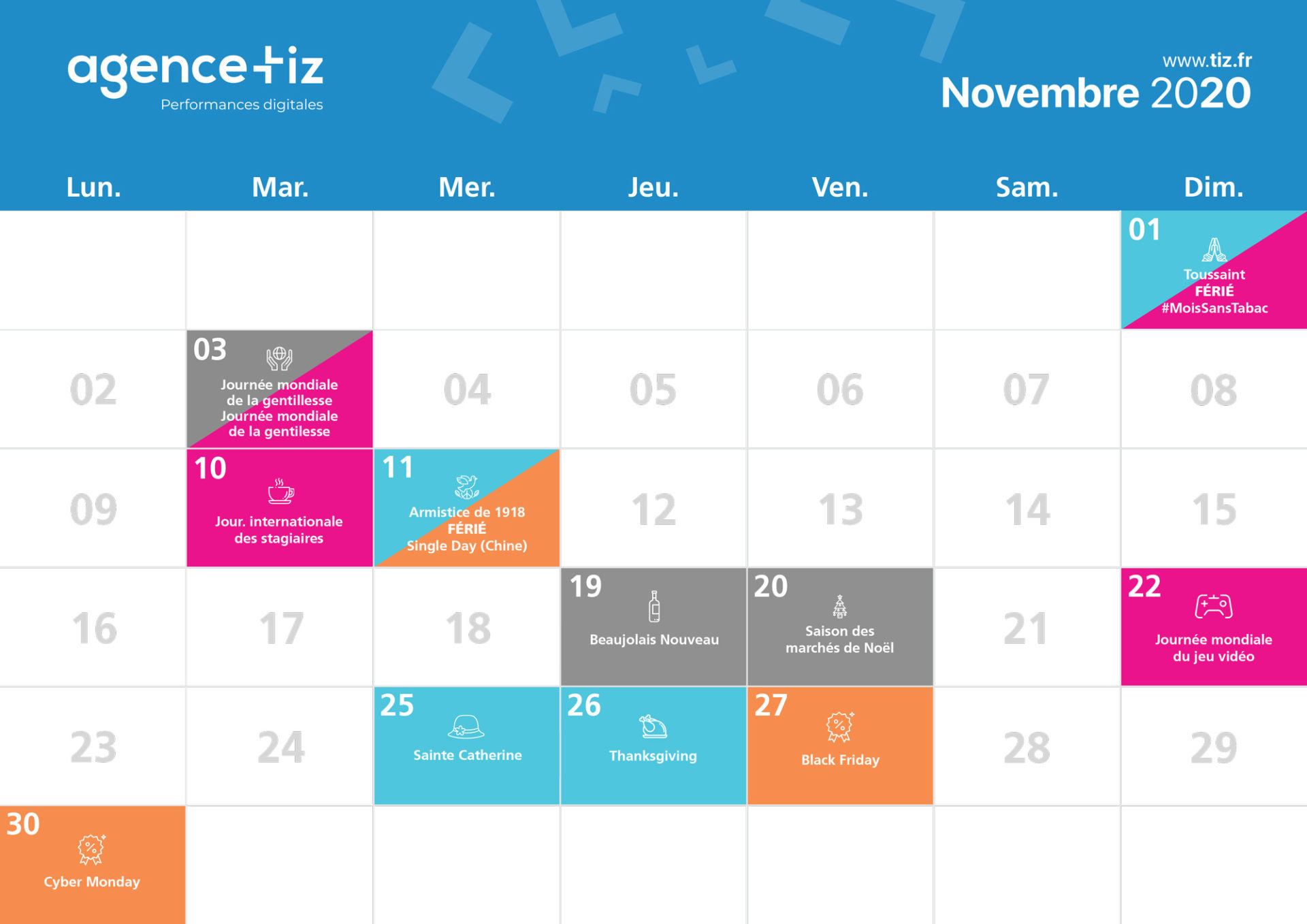 calendrier marketing 2020 novembre