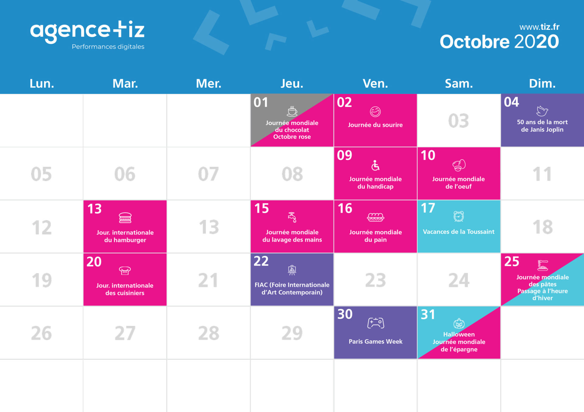 calendrier marketing 2020 octobre