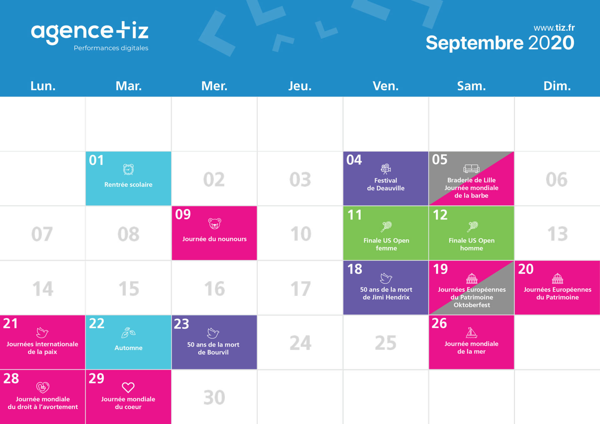 calendrier marketing 2020 septembre