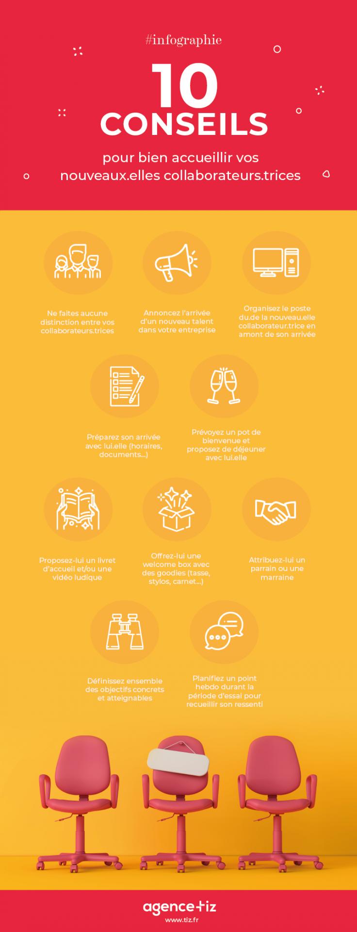 Infographie : 10 conseils pour bien accueillir vos nouveaux collaborateurs.
