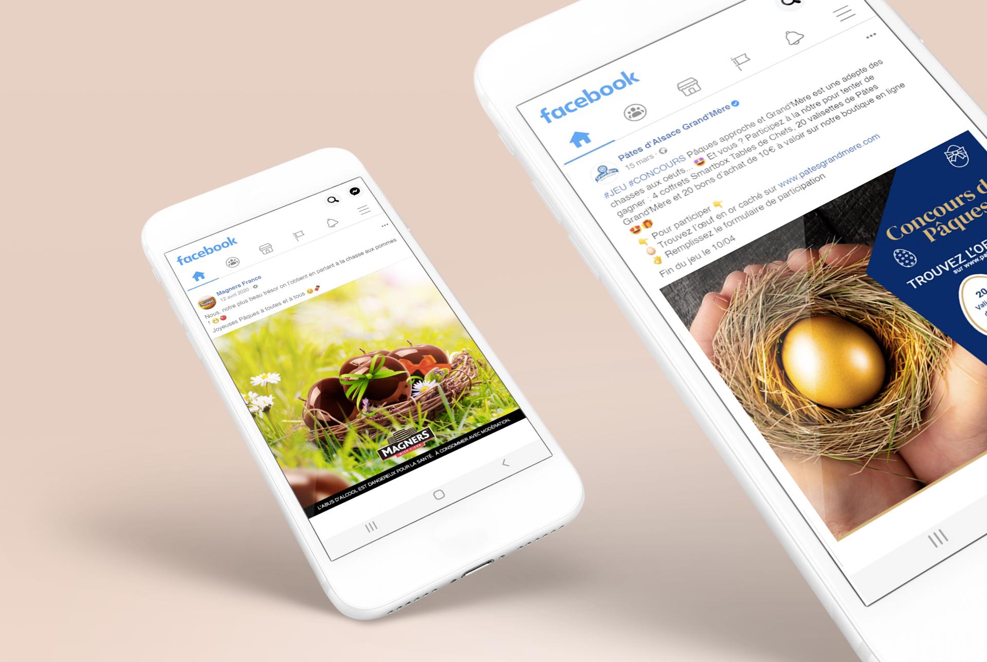 2 téléphones montrant des publications de marques sur Facebook à l'occasion des fêtes de Pâques