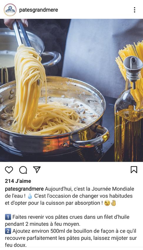 Publication Instagram de la marque Pâtes d'Alsace Grand'Mère