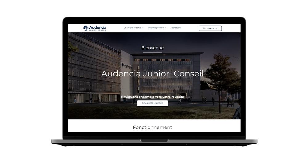 Site web Audencia Junior Conseil avec la technologie Duda - Pourquoi se faire accompagner d'une agence pour le Low-Code No-Code ?